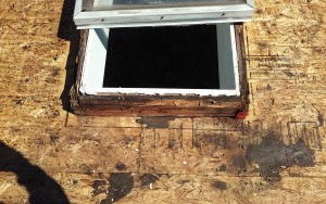 Rotting wood around the old skylight needed replacement.